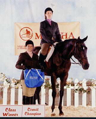 Taylor won the circuit championship in NA Hunter Under Saddle at the MEKQHA circuit in June, 2001, winning 3 1sts and 1 2nd under 4 judges